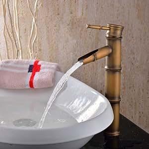 Lightinthebox? Single Handle Deck Mount Bathroom Bamboo Vessel Sink Faucet Bronze Antique Brass Tall Spout Bath Tub Mixer Taps Bathtub Faucet Bamboo Shape Single Hole Lavatory Unique Designer Cheap Discount Plumbing Fixtures