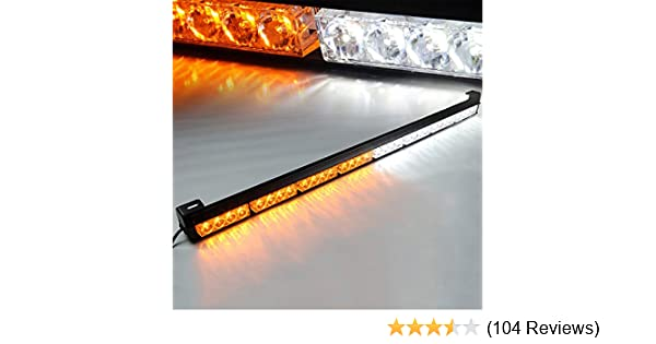 35. 5 Inch, Yellow Emergency Light Bar 35.5 Inch 13 Flash Patterns 32 Led Warning Lights Traffic Advisor Bar Yellow Strobe Safety Lights with Cigar Lighter