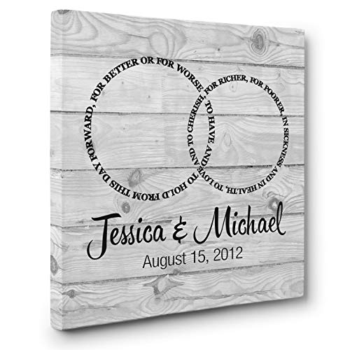 Rings Personalized CANVAS Wall Art Anniversary Wedding Gift