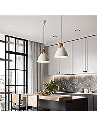 Loft Pendant Lamp Kitchen Fixtures Industrial Decor Commercial Lighting Fixture (White, D 27CM)