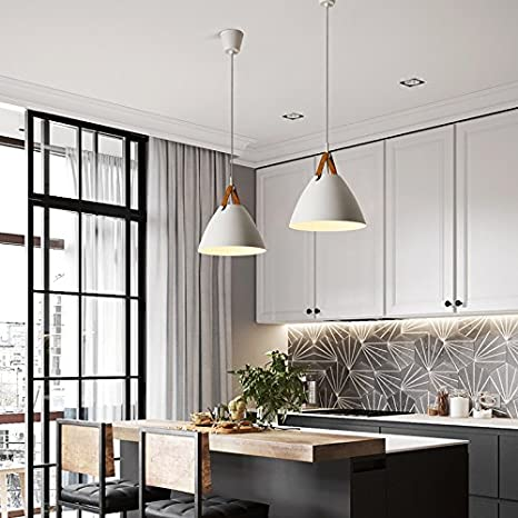 Loft Pendant Lamp Kitchen Fixtures Industrial Decor Commercial Lighting  Fixture (White, D 27CM)     Amazon.com