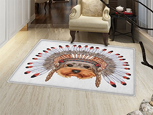 smallbeefly Yorkie Floor Mat for kids Yorkshire Terrier in Bonnet Ethnic Culture Hand Drawn Cute Dog Canine Illustration Door Mat Increase Multicolor