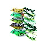 ActiveCraft Bass Frog Lure Pack - Topwater Weedless Casting Fishing Frog Poppers (Mixed, 5 Pack)
