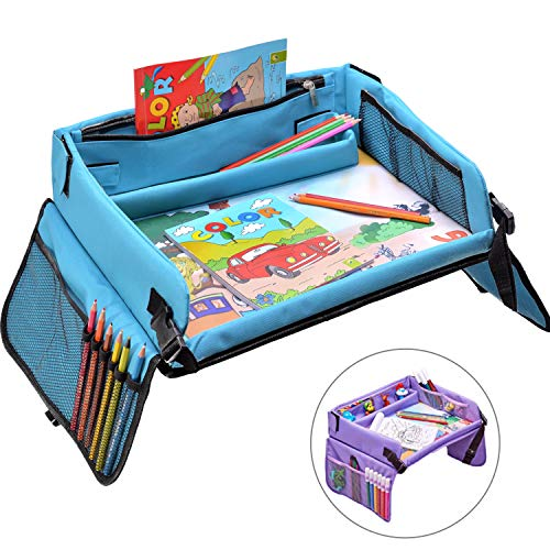 (Kids Travel Tray - Activity, Snack, Play Tray & Organizer for Car Seat, Stroller Or Airplane Traveling - Keeps Children Entertained - Portable and Foldable + Free Bag & E-Book by KBT)