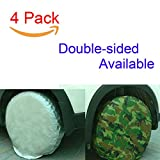 "Tire Covers Set of 4 Waterproof Sun Protectors for 25""-28"" Wheels Oxford Cloth Fabric for Auto Truck Car Camper 4 Pack"