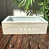 The Farmer's Market 3 Hearts Box, Table Top Decorative Storage Gift Accessory Box, Glass and MDF Wood, 6 3/4 X 3 1/2 X 2 Inches, By Whole House Worlds