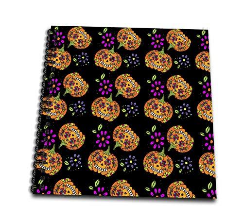 3dRose Anne Marie Baugh - Patterns - Cute Sugar Skulls Halloween Pumpkins Pattern - Memory Book 12 x 12 inch (db_295462_2) -