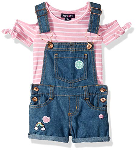 Limited Shirt Top Too - Limited Too Baby Girls Cold Shoulder Stripe Top and Shortall Set, Hearts Multi, 24M