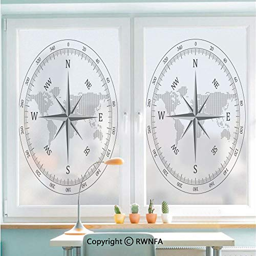 RWNFA Window Glass Sticker Door Mural Compass Illustration with World Map Maritime Seaman Life Equipment Monochromic Artwork Static Cling Privacy No Glue Film Home Decorative 22.8x35.4inch,Gray White