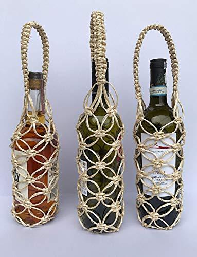 Wine Gift Bags -Unique Design Handmade Wine Bottles Handle, Whisky/Spirits Reusable,Natural Rattan Basket Travel Wine ()