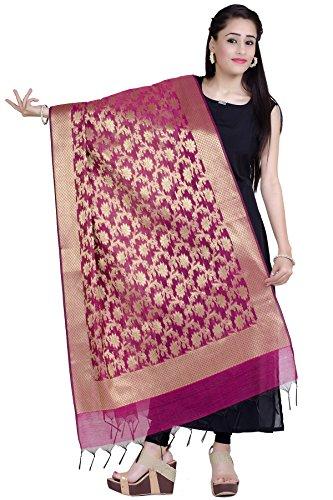 Chandrakala Women's Handwoven Magenta Zari Work Banarasi Dupatta Stole Scarf,Free Size - Magenta Georgette