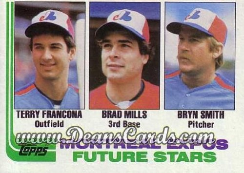 1982 Topps # 118 Expos Rookies Bryn Smith / Terry Francona / Brad Mills Montreal Expos (Baseball Card) Dean's Cards 6 - - Terry 118