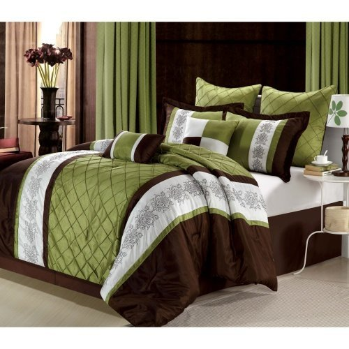 Chic Home 8-Piece Livingston Embroidered Comforter Set, Queen, Sage