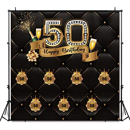 Funnytree 6X6ft 50th Birthday Party Photography Backdrop Adult Step and Repeat Black Tufted Luxury Background Golden Glitter Shiny Fifty Years Old Age Decoration Photo Banner Photobooth Props