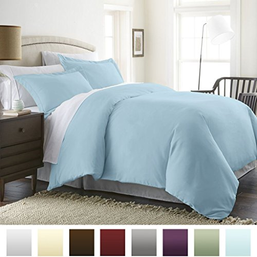 (Beckham Hotel Collection Luxury Soft Brushed 2300 Series Microfiber Duvet Cover Set - Hypoallergenic - Full/Queen - Sky Blue)