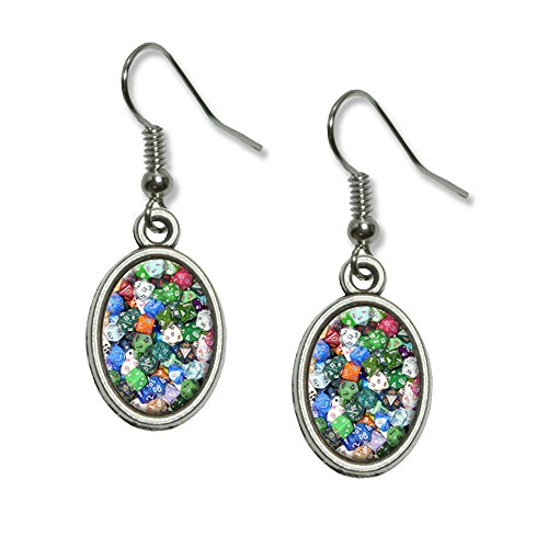 Board Game Gaming Dice Novelty Dangling Drop Oval Charm Earrings (Dice Costumes)