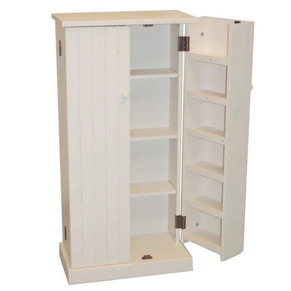 Kitchen Pantry Cabinet Free Standing White Wooden Cupboard Storage Organizer Food 3 Adjustable Shelves Door Backs 6 Shelves 2 Doors Kitchen Storage Closet & eBook by BADA Shop by BS (Image #1)