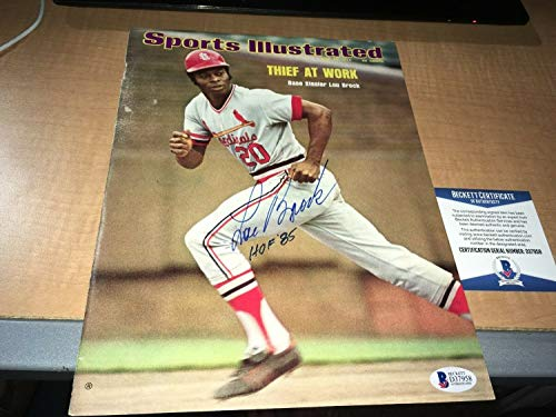 Lou Brock Cardinals Autographed Signed 1974 Sports Illustrated Cover Bas Beckett Certified - Authentic Memorabilia