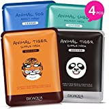 Moisturizing Face Mask Sheet Enriched with 100% Natural Serum for Radiant and Nourished Skin. At Home Spa Facial Treatment with Fun Animal Characters: Panda, Tiger, Sheep, Dog (4 Sheets)