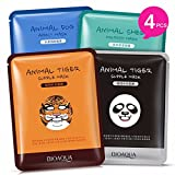Moisturizing Face Mask Sheet Enriched with Natural Serum for Radiant and Nourished Skin. At Home Spa Facial with Fun Animal Characters: Panda, Tiger, Sheep, Dog (4 Sheets Variety Pack)