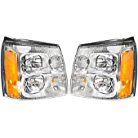 Headlights Headlamps LH & RH Pair Set for 02 Cadillac...