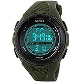SunJas 5ATM impermeabile Sport orologio da polso Fashion Men LCD Digital cronometro cronografo Data Allarme Sport Orologio da polso in gomma
