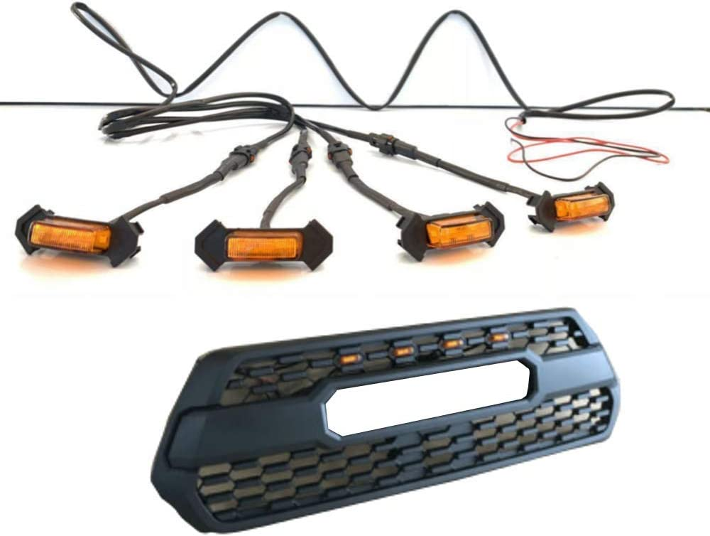Motorfansclub 4pcs Front Bumper Hood Grille LED Light for Tacoma 2016-2018( Grille Not Included