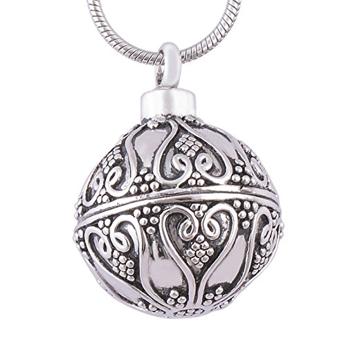 - ANAZOZ Stainless Steel Pet Loss Memorial Urn Ash Necklace Cremation Pendant Spherical Perfume Bottle