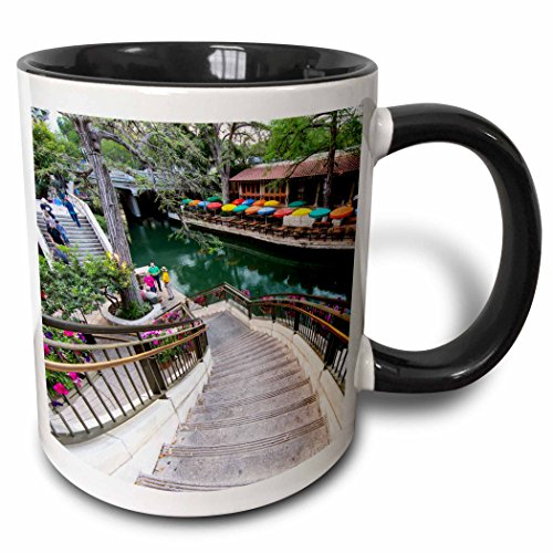 3dRose Flowers along the Riverwalk in downtown San Antonio, Texas, USA - Two Tone Black Mug, 11oz (mug_190196_4), 11 oz, - Antonio Texas San Outlets In