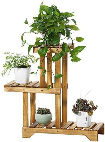 花の盆栽展示棚ハーブ鉢植えは、ハウスのための自然な広葉樹の植物ポットホルダーマルチレイヤ近代室内装飾収納棚ラックスタンド 収納ラック