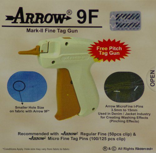 """2 Arrow 9F FINE Mark II Tag Guns +5 Extra Needle +5000 ( Size 75mm ) ( 3"""" ) White Barbs ( Fasteners ) Price Label Clothing Tagging Attacher with High Quality Needle Combo"""