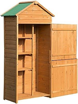 Outsunny Caseta de Jardín Exterior Tipo Cobertizo de Madera y Armario Exterior de Almacenamiento para Herramientas 89x50x190cm: Amazon.es: Jardín