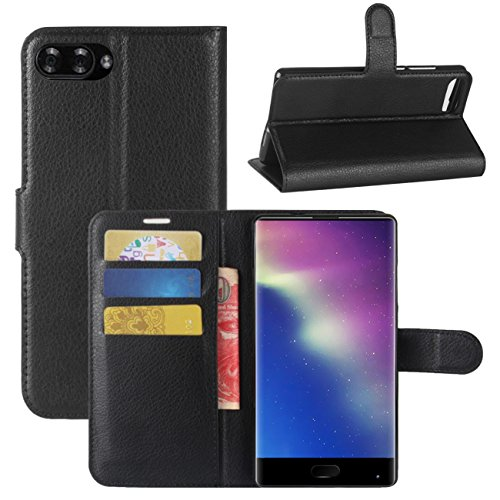 Doogee Mix Case, Fettion Premium PU Leather Wallet Flip Phone Protective Case Cover with Card Slots and Magnetic Closure for DOOGEE MIX 5.5 Inch Smartphone (Wallet - Black)