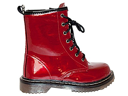 Foster Up Footwear Goth Size Boots Combat Style Flat Ladies Eyelet 7 Military Girls Ankle 13 Burgundy DM Lace YYwx4r