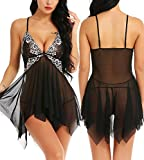 RSLOVE Women V-Neck Floral Lace Lingerie Set Mesh Babydoll Chemise Sexy Open Front Sleepwear Black S