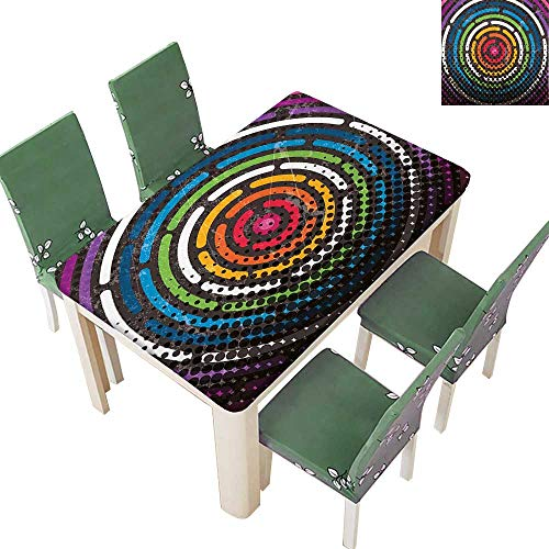 Printsonne Table in Washable Polyeste Spiral Circular Grunge in Gradient New City Urban Life Night Theme Wedding Party Restaurant 54 x 102 Inch (Elastic Edge) -