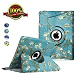 LXS iPad 9.7 inch Case New 2018 2017/ iPad Air Case - 360 Degree Rotating Stand Protective Cover Leather Case with Auto Sleep/Wake for Apple iPad 9.7' (iPad 5, iPad 6) (Blossom)