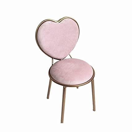 Iron Heart Shaped Chair, Pink Girl Room Decoration Chair Dining Chair Bar  Chair Home