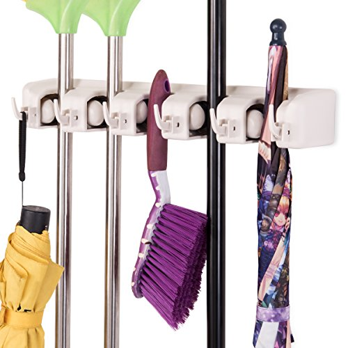 Tangkula Mop Broom Holder Home Kitchen Garden Tool Organizer 5 Position with 6 Hooks Wall Mounted (White)
