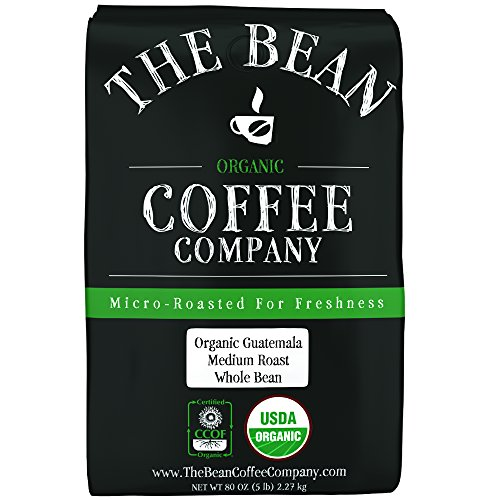 The Bean Coffee Company Organic Guatemala, Medium Roast, Whole Bean, 5-Pound Bag