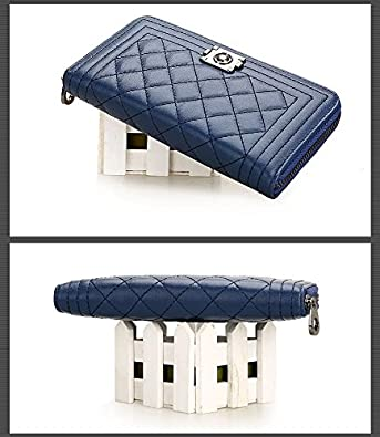 e6adc978894a Amazon   MAXIA Collections 長財布 レディース 紺 紫 黒 ラウンドファスナー (ネイビー)   財布