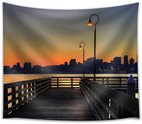 wall26 – Downtown Skyline from The Pier at Sunrise – Fabric Wall Tapestry Home Decor – 68×80 inches