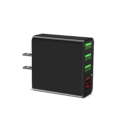 Amazon.com: Cargador de pared USB de 3 puertos con pantalla ...