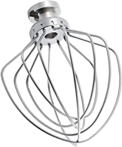 K45WW 6-Wire Whip Attachment for KitchenAid Tilt-Head Stand Mixe Accessory Replacement, Stainless Steel Egg Cream Stirrer, Flour Cake Balloon Whisk,Dishwasher Safe