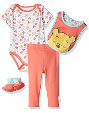 Baby Girls' Winnie the Pooh 3-Piece Cardigan, Pant, Booties, and Hat Set