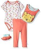 Disney Baby Girls' Winnie the Pooh 3-Piece Cardigan, Pant, Booties, and Hat Set, Georgia Peach, 6/9
