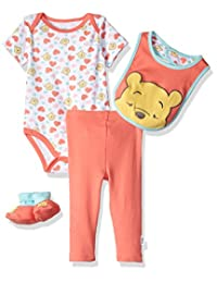 Disney baby-girls Baby Winnie the Pooh 3-piece Cardigan, Pant, Booties, and Hat Set