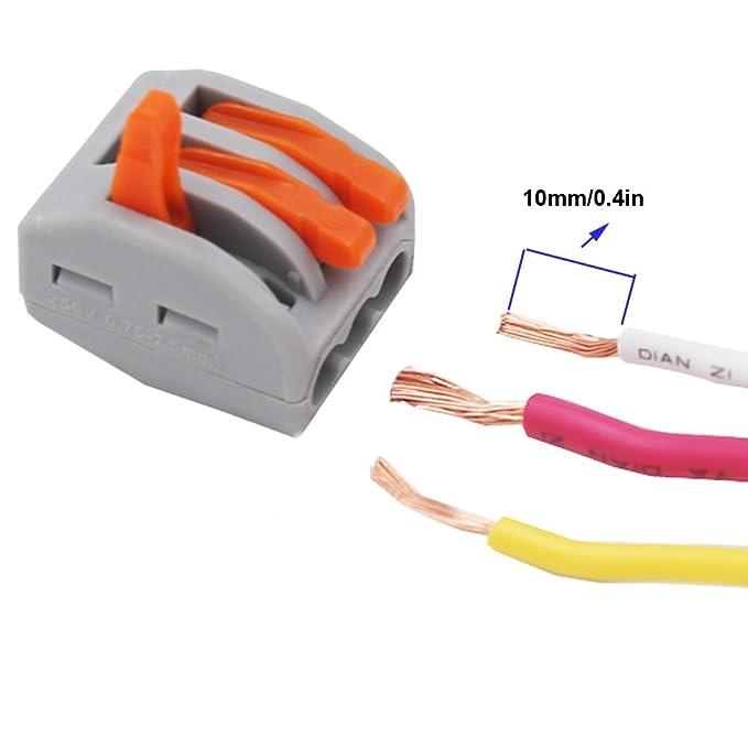 KINYOOO Terminales Conectores Reutilizables de conectores de tuercas de patillas Conectores de cables compactos de 48 piezas 2 orificios (20 piezas), ...