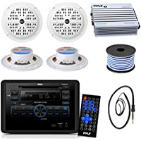 Pyle PLRVST300 RV Wall Mount Bluetooth CD/DVD Receiver Bundle Combo With 4x 4 Inch Dual Cone Waterproof White Stereo Speaker + Enrock Radio Antenna + 400 Watt Amplifier +16G 50-FT Wire