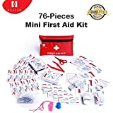 Mini First Aid Kit, 76 Pieces Mini Small First Aid Kit includes Emergency Foil Blanket, CPR Face Mask,Security Whistle for Home,Vehicle,Travel,Office,Workplace,Child Care, Hiking,Survival & Outdoor